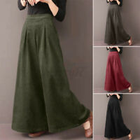 ZANZEA Womens Flare Wide Leg Pants Casual Corduroy Culottes High Waist Trousers