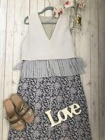 Jigsaw Size 10 midi pleated blue sample dress occasion wedding summer vgc