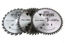3x VEWERK Circolare TCT Lame Taglio Legno 210 x 30MM FESTOOL MAKITA TS55, 2973