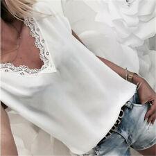 Women Summer Lace V Neck Cami Tops T Shirt Short Sleeve Chiffon Blouse SK