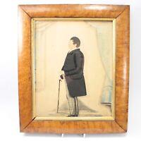 Primitive painting antique portrait watercolour gent walking stick maple frame