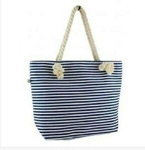 Blue & White Hooped Nautical Rope Handle Beach Shoulder Tote Bag