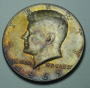 MONSTER TONED 1969 D USA SILVER KENNEDY HALF DOLLAR COLOR CHOICE HIGH GRADE (DR)