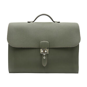 HERMES Sac A depeche 38 Briefcase business bag Togo leather Gray Used O 2011