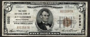 1929 $5 T.1, First NB of Attleboro, Mass., F+, Scarce