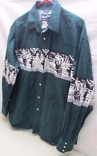 Wrangler Mens Pearl Snap Cowboy Rodeo Western Shirt  XL Green