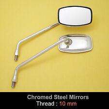 Honda CT125 MT125 MT250 XL70 ST90 CT90 10mm Chrome Steel Rectangle Mirror Pair