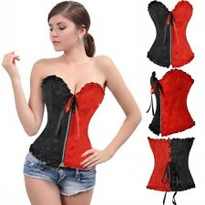 Women Punk Cosplay Waspie Corset Bustier Top Waist Trainer Shaper Lingerie S-6XL