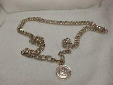 Vintage Women's Silver Tone Faux Coin Textured Link Chain Belt 36