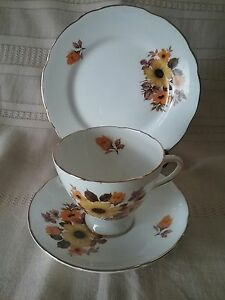Gladstone bone china Staffordshire England cup,saucer,plate trio vintage as new