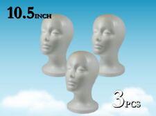 10.5 inch WIG FEMALE STYROFOAM HEAD FOAM MANNEQUIN DISPLAY / 3pc
