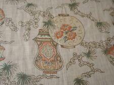 Antique Chinoiserie Lantern Floral Light Lawn Cotton Fabric ~ Terra Cotta Green