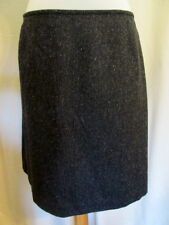 Eddie Bauer wool/silk DARK GRAY tweed lined skirt 14 *FREE SHIPPING* Nice