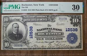 1902 Ten Dollar National Currency Rochester Rare Signed Back FR# 635 PMG VF30