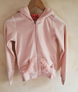 Juicy Couture velour pink hoodie with frilled pockets and embroidery on the back