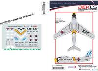 Decals F-86 Sabre ROKAF - Black Eagles Aerobatic Team 'Yellow Nose' 1/144 Scale