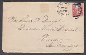 US 1898 Spanish American War mail to Military Hospital in San Francisco