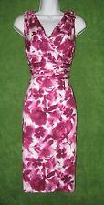 Alex Marie Melania Pink Fuschia White Cotton Stretch Sheath Social Dress 6 $119