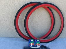 [2] NEW 26'' x 2.125 BLACK & RED CRUISER BICYCLE TIRES W [2] TUBES & [2] LINERS