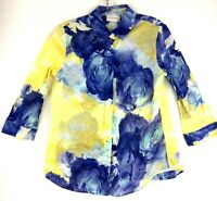 CHICOS Womens Long Sleeve Floral Button Down Shirt Size 0 BLUE/ Yellow Collar