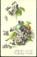 Vintage Bright and Happy Easter Tuck's Postcard with Eggs and Violets