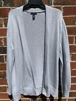 Gap Chunky Cable Knit Heather Gray Open Drape Cardigan Size XL Large Sweater