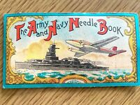 1940s THE ARMY AND NAVY NEEDLE BOOK vintage sewing kit OCCUPIED JAPAN plane ship
