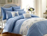 $320 Laura Ashley 3PC Set KING Duvet & KING Shams Embroidery Emma Cotton Blue