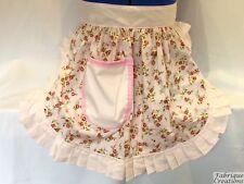 Delantal de estilo vintage y retro 50s Estilo Media/Musgo-Rosas Rosa Con Moldura Rosa Bebé