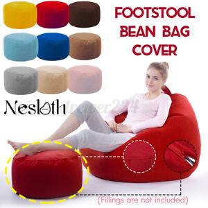 Velvet Bean Bag Footstool Cover Footrest Round Stool BeanBags Sofa Lounger Cover
