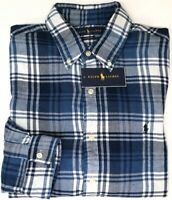 NEW $98 Polo Ralph Lauren Long Sleeve Flannel Shirt Mens Blue Plaid Classic Fit