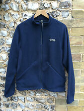 VINTAGE Nike Giacca in Pile Maglione Small Blu Navy Top Coat THERMA FIT Cerniera