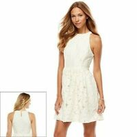 Lauren Conrad Off White Floral Lace Sleeveless Fit & Flare Dress 8 CLEARANCE