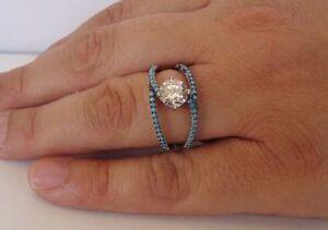 WEDDING RING 925 STERLING SILVER W/ LAB DIAMOND / TURQUOISE / SZ 5,6,7,8,9