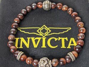 Invicta Men's Red Tiger's Eye Beaded Bracelet 35912