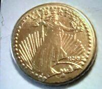 1907 MINI ST GAUDENS GOLD  COIN 1/2 GRAM  FREE SHIPPING 10MM