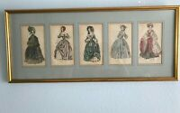"Five Antique Colored Fashion Plates Bevel Cut Mat and Glass Framed 11"" x 25 5/8"""