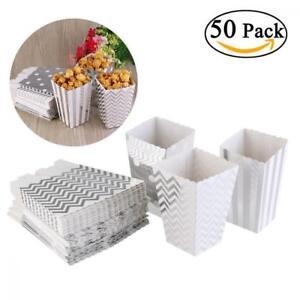 NUOLUX 50pcs Popcorn Boxes SILVER Design Trio Miniature Scalloped Edge 50 pieces