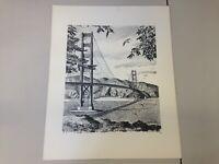 Willard Cox The Golden Gate Bridge pencil sketch vintage