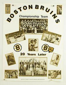 vtg 1990 BOSTON BRUINS poster Stanley Cup 1970 ~ 20 Years Later ~ Bobby Orr, EUC