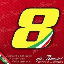 Adesivo Stickers NUMERO 8 moto auto cross gara Giallo & Tricolore 15 cm