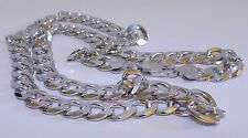 GENUINE! 49.6gr Italian Mens/Unisex Solid Sterling Silver Curb Chain/Necklace!