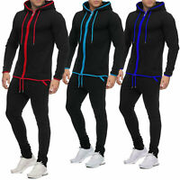Mens Tracksuit Set New Contrast Fleece Hoodie Top Bottoms Joggers Pants S-XL