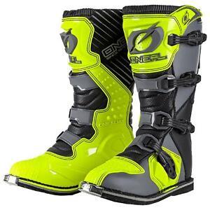 O'Neal Rider Boot MX Stiefel Grau Neon Gelb Motorrad Enduro Motocross Adventure