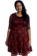 New Womens Plus Size Dress Ladies Skater Floral Lace 2 Tone Party Shine Knee