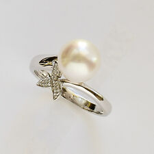 SOUTH SEA PEARL RING 9.3mm CULTURED PEARL GENUINE 14K 585 WHITE GOLD.SIZE M NEW