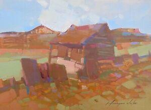 Village, Original Oil painting  Handmade artwork One of a kind