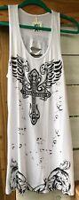 NWT Ocasion Jr. Wm. XLarge Knit Tank Top Angel Wings Bling Cross RipCut Dwn Back