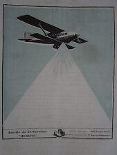 3/1925 PUB CARBURATEUR ZENITH MOTEUR AVIATION HALLO ORIGINAL AD