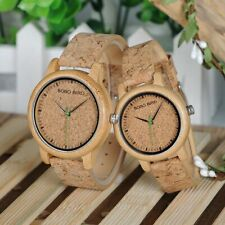 Eco Bamboo Wooden Cork Handmade Womens Mens Couple Watch